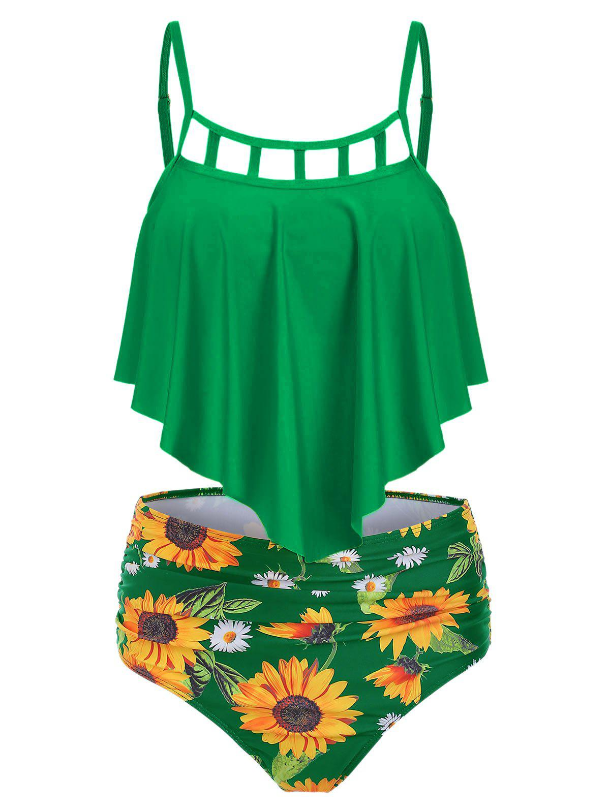 Cut Out Sunflower Overlay Tankini Set - GREEN 3XL