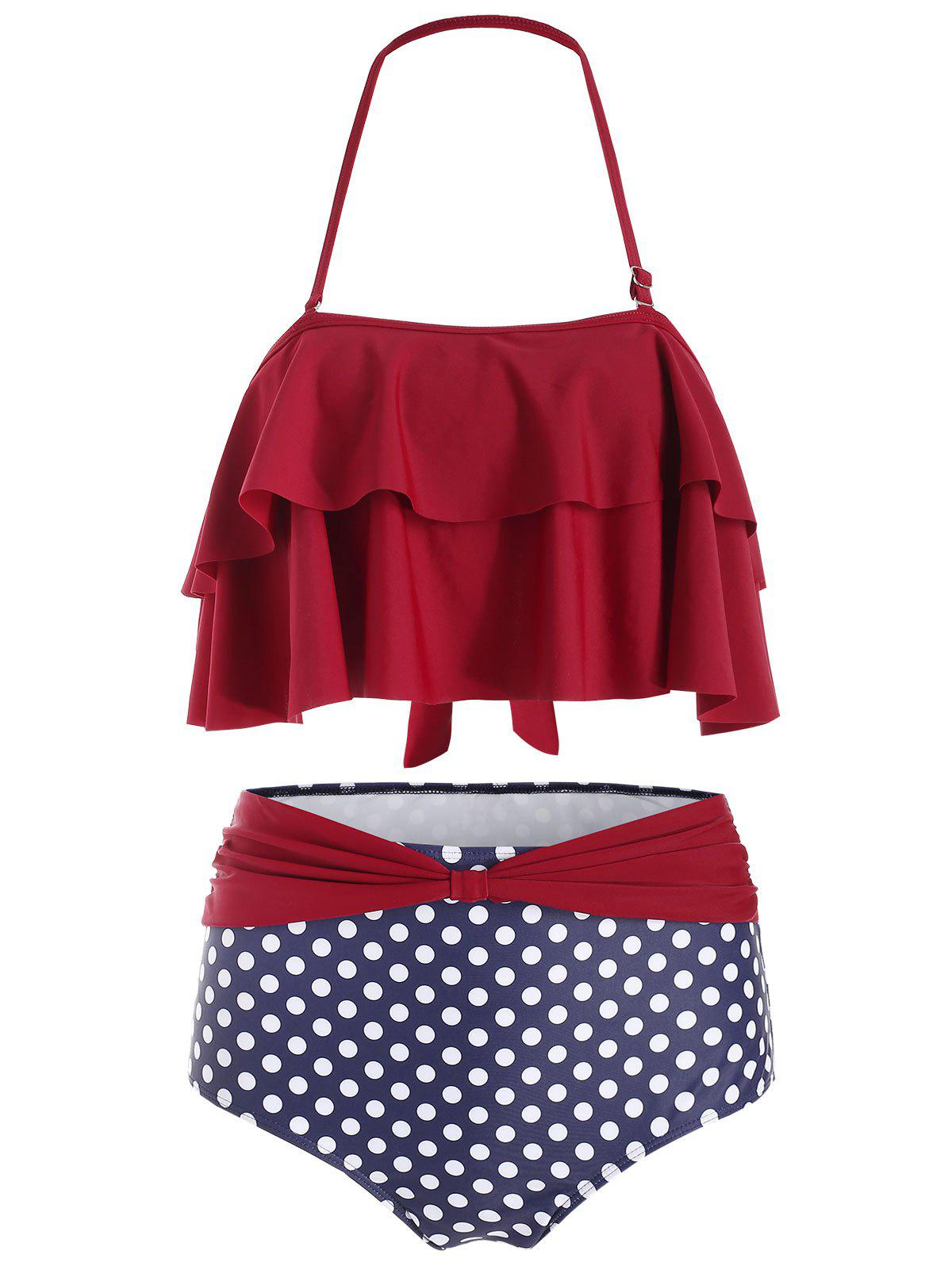 Ensemble de Tankini Superposé à Pois à Col Halter - Rouge Vineux M