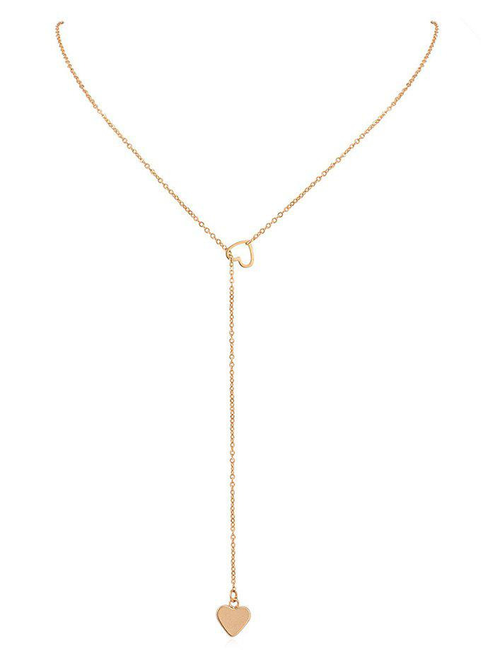 Hollow Heart Shape Lariat Necklace - GOLD