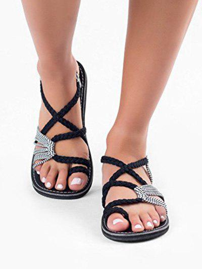 Toe Loop Braided Strap Flat Sandals - BLACK EU 41