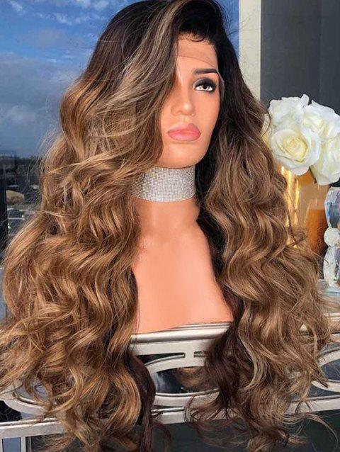 Side Part Long Body Wave Synthetic Cosplay Wig - BROWN