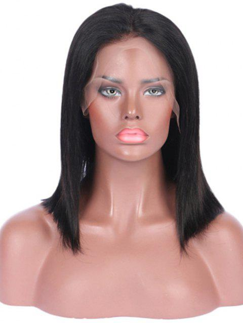 Center Part Straight Human Hair Wig with Lace Front - NATURAL BLACK 14INCH