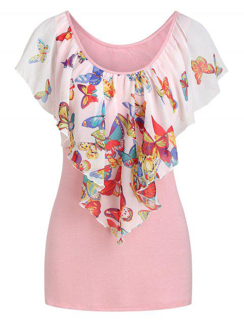 Butterfly Print Capelet Overlay T-shirt - multicolor 2XL
