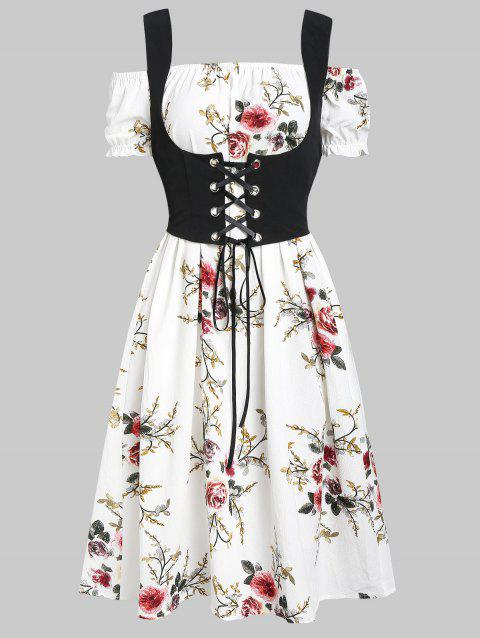 Flower Off Shoulder Dress and Lace-up Waistcoat Set - WHITE M