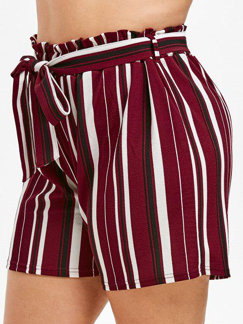 Plus Size High Rise Striped Shorts - RED WINE 2X
