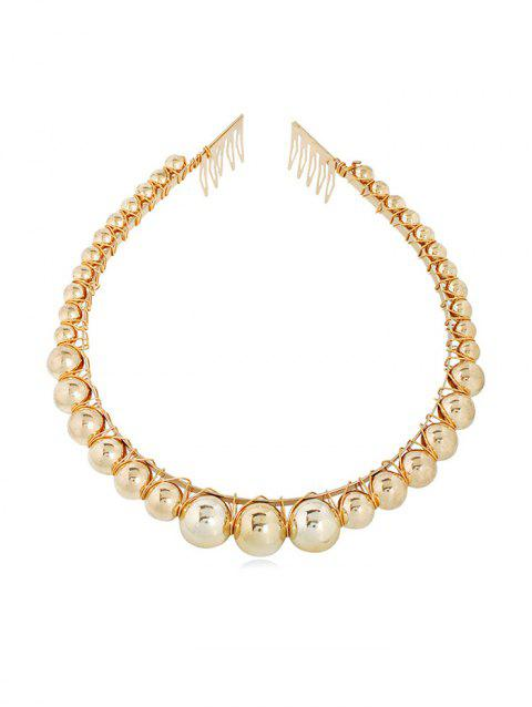 Beads Alloy Artificial Pearl Hairband - GOLD