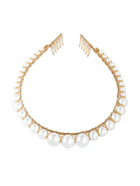 Beads Alloy Artificial Pearl Hairband - WHITE