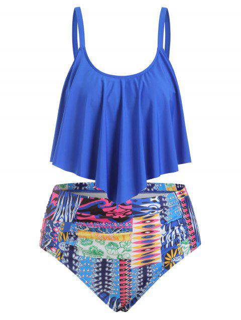 Plus Size Ruffled High Waist Tankini Set - OCEAN BLUE L