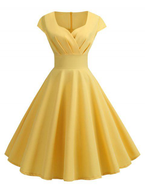 Sweetheart Neck Vintage Fit and Flare Dress - YELLOW M
