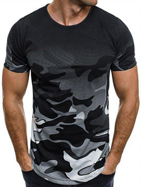 Ombre Camouflage Print T-shirt - multicolor A L