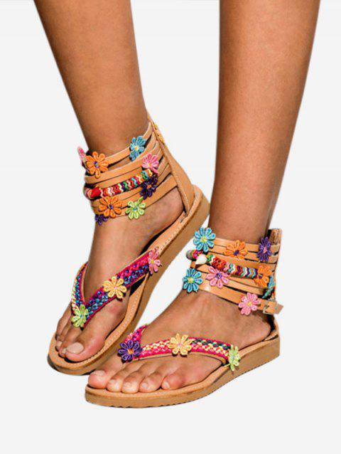 Flower Decor Gladiator Thong Sandals - BROWN EU 39