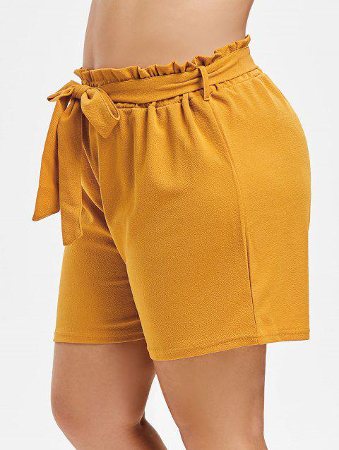 Plus Size High Waist Paperbag Shorts - CORN YELLOW 3X