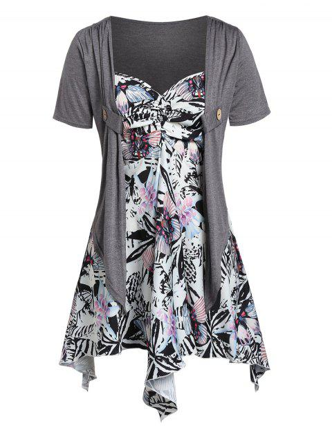 Plus Size Asymmetrical Shawl Top With Floral Ruched Cami Top - GRAY 1X