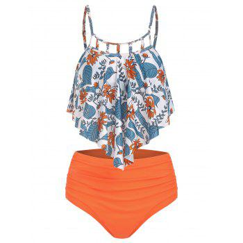 Floral Print Cut Out Ruched Tankini Set