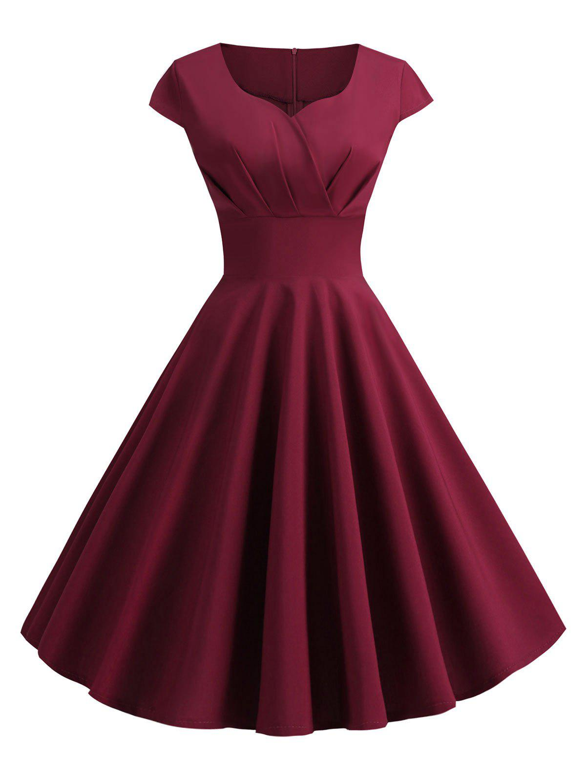 Sweetheart Neck Vintage Rockabilly Style Fit and Flare Dress - RED WINE 2XL