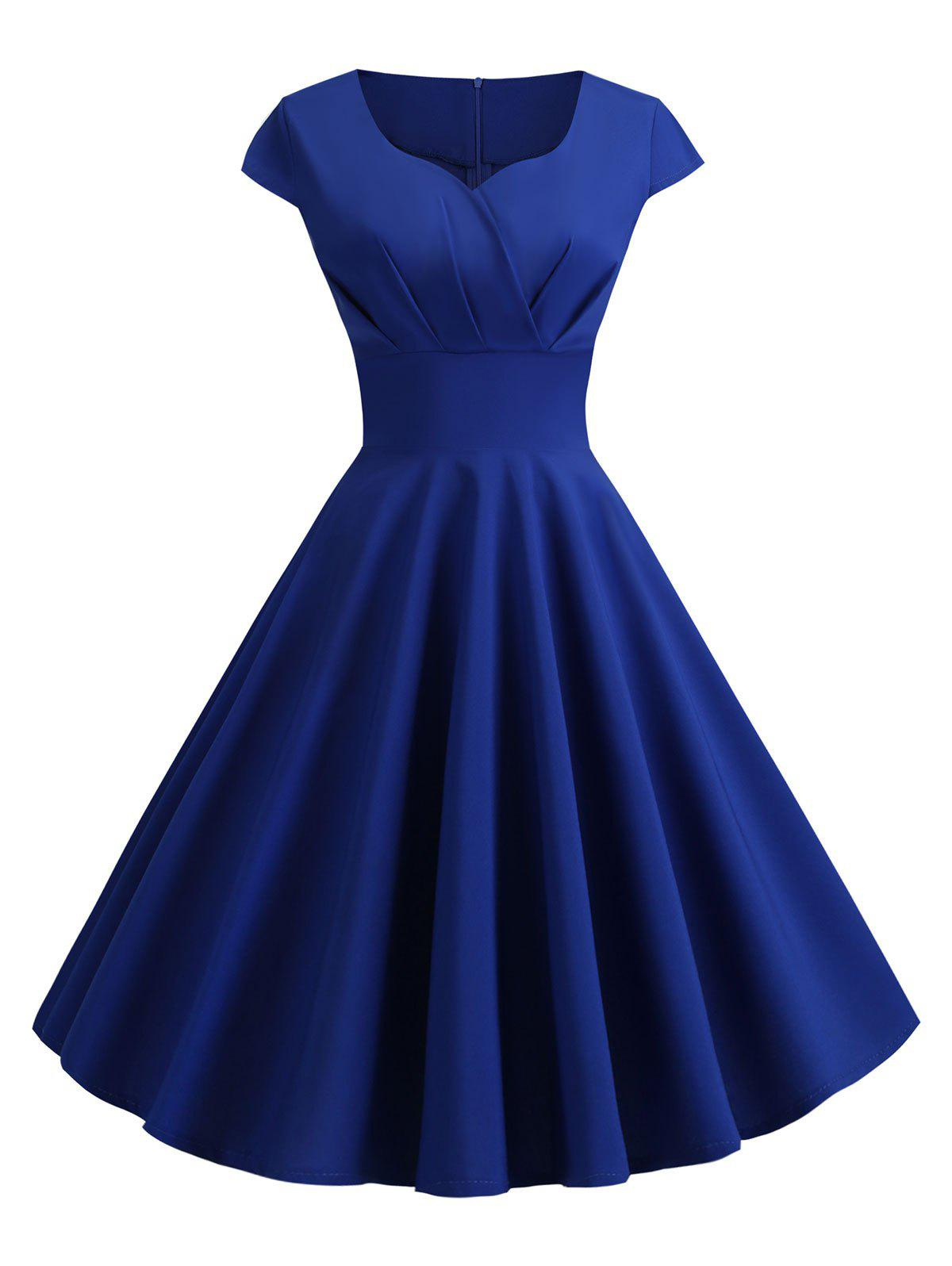 Sweetheart Neck Vintage Rockabilly Style Fit and Flare Dress - COBALT BLUE M