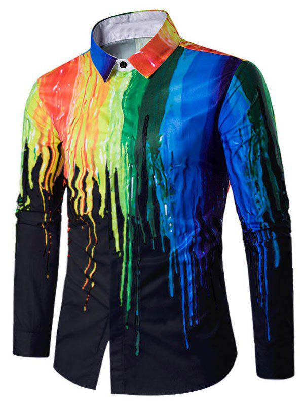 Casual Paint Splatter Long Sleeve Shirt - BLACK XL