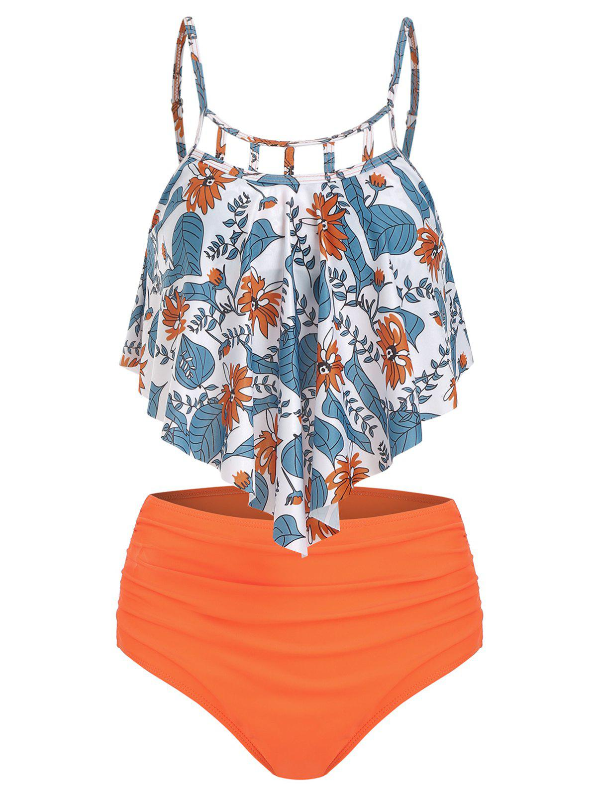 Floral Print Cut Out Ruched Tankini Set - PUMPKIN ORANGE S