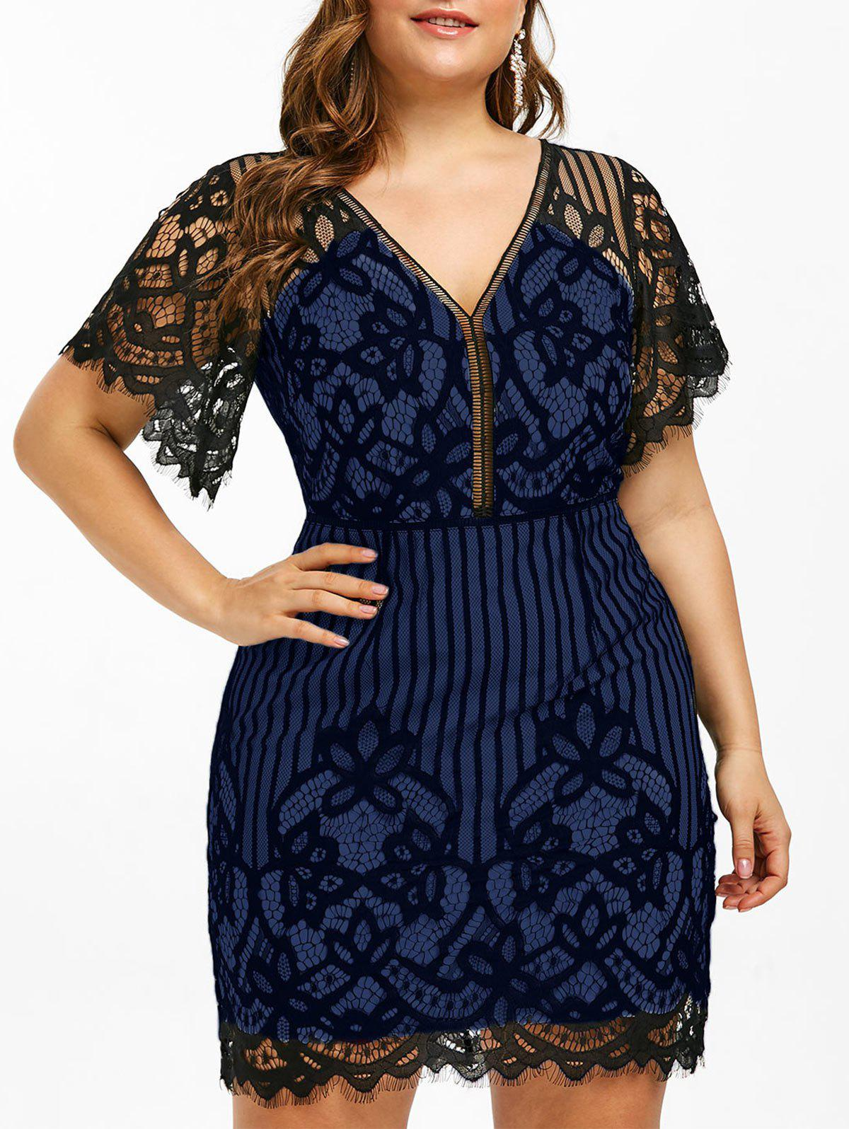 Plus Size Lace Plunge Mini Fitted Dress - BLUEBERRY BLUE L