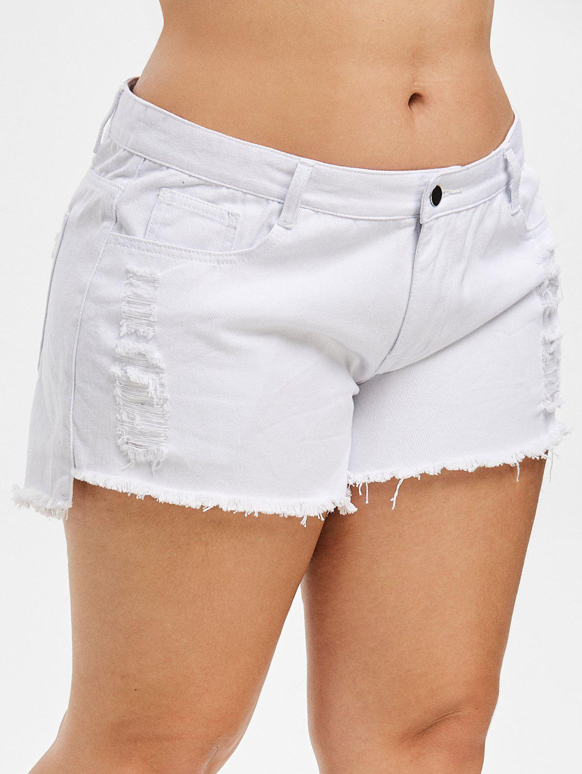 Plus Size Ripped Frayed Denim Shorts - WHITE 5X