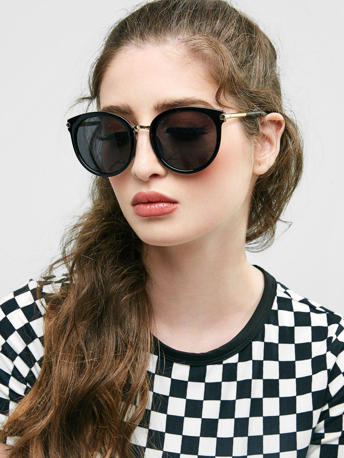 European American Round Young Style Sunglasses - BLACK