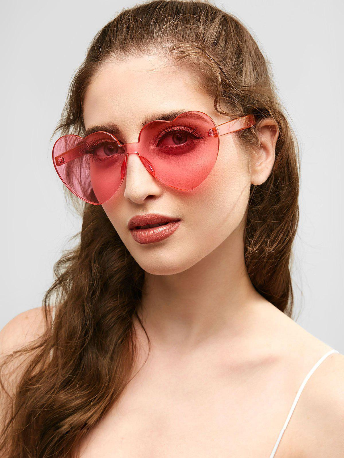 Novelty Love Heart Shape Rimless Sunglasses - PIG PINK