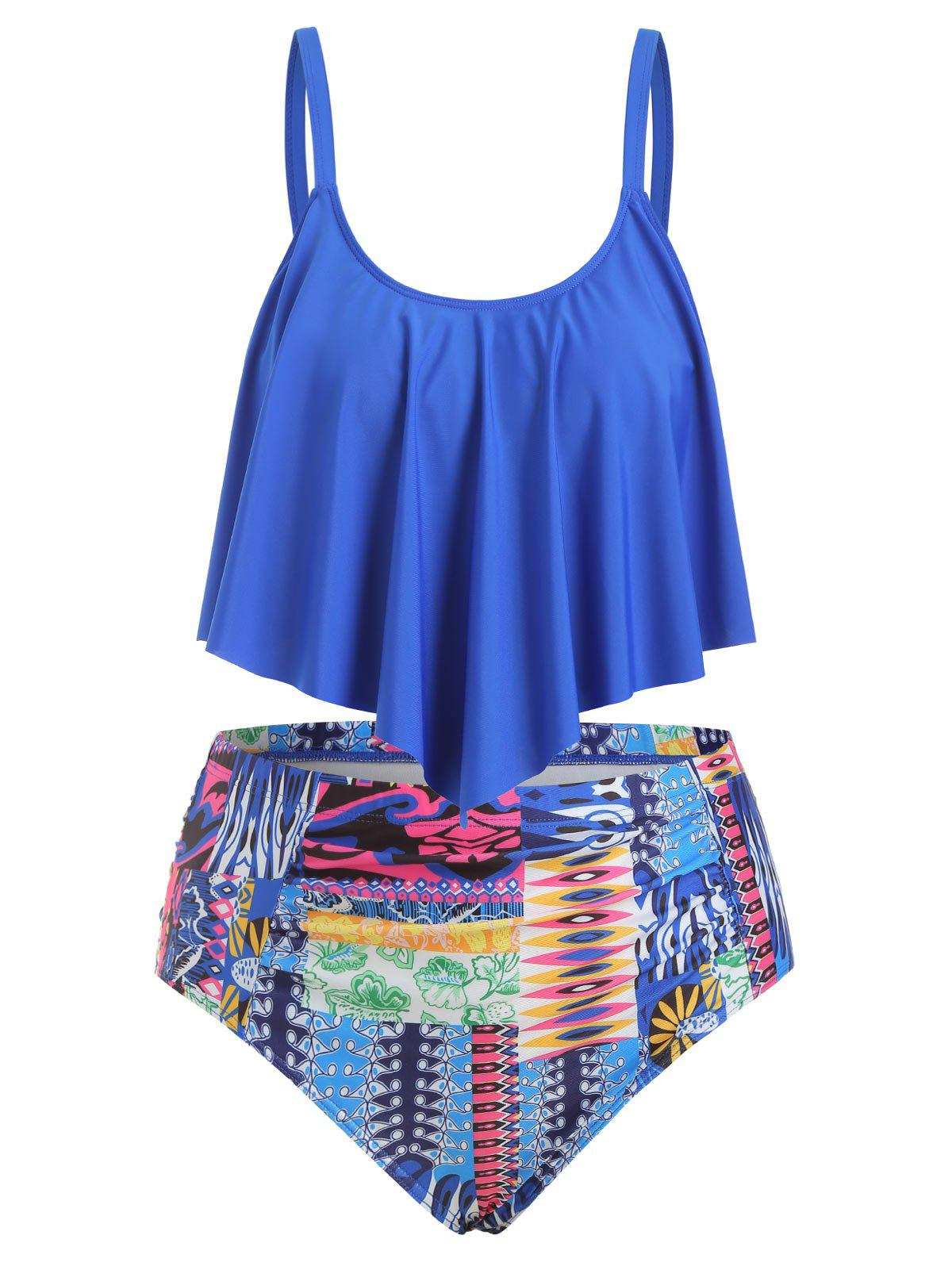 Plus Size Ruffled High Waist Tankini Set - OCEAN BLUE 5X