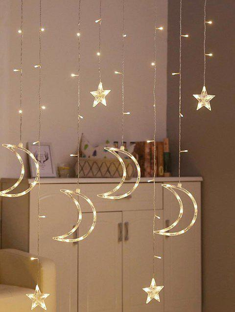 3.5 Meters 2W Waterproof Moon and Stars Decorative String Lights - WHITE