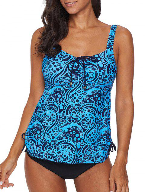 Printed Backless Cinched Knotted Tankini Swimsuit - BLUE M