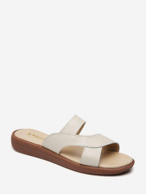 PU Leather Flat Slides - BEIGE EU 37
