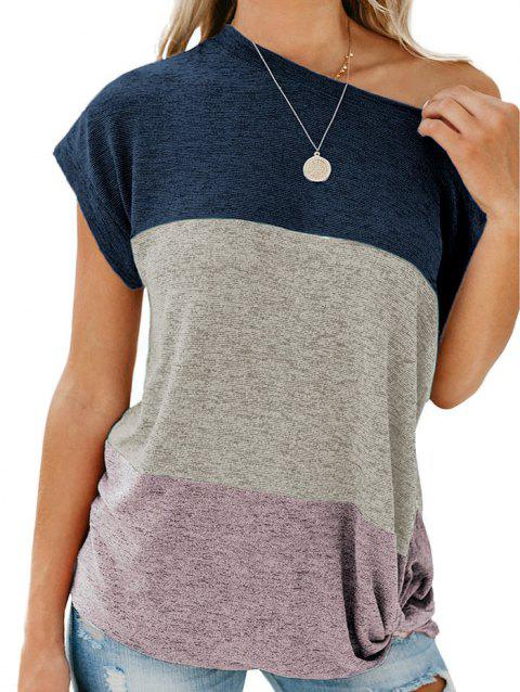 Color Block Batwing Sleeve Knitted T-shirt - DEEP BLUE L