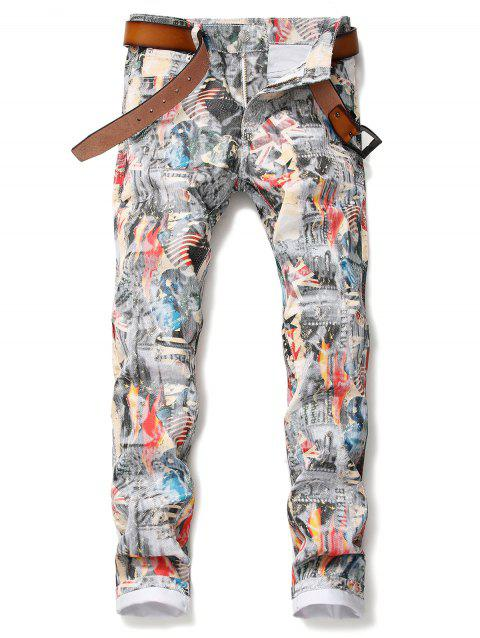 Union Jack Pattern Pencil Jeans - multicolor 38
