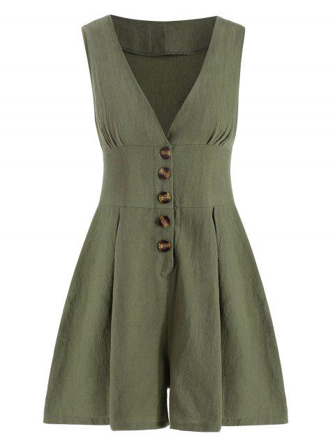 Plunging Wide Leg Buttoned Romper - ARMY GREEN S