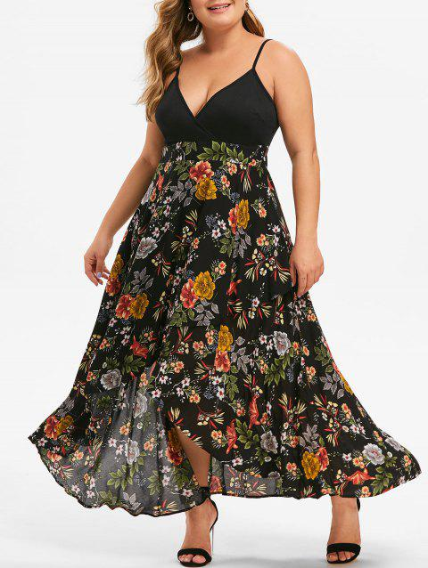 Plus Size Floral Print High Low Surplice Dress - BLACK 3X
