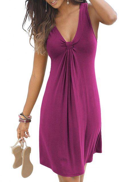 Plunge Knotted Casual Tank Dress - DIMORPHOTHECA MAGENTA XL
