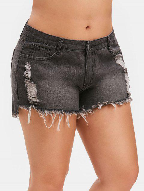 Plus Size Ripped Frayed Denim Shorts - GRAY 5X