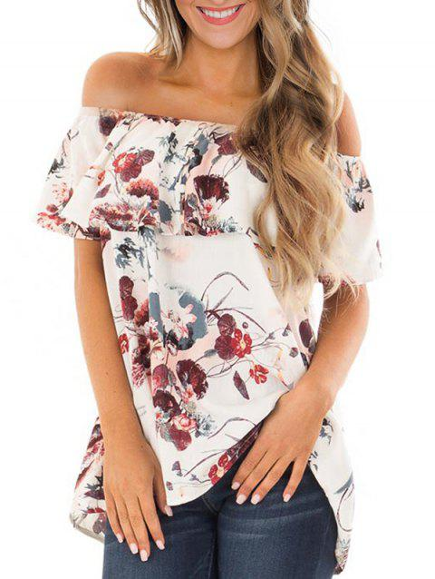 Floral Off Shoulder Flounce Tunic Tee - WHITE M