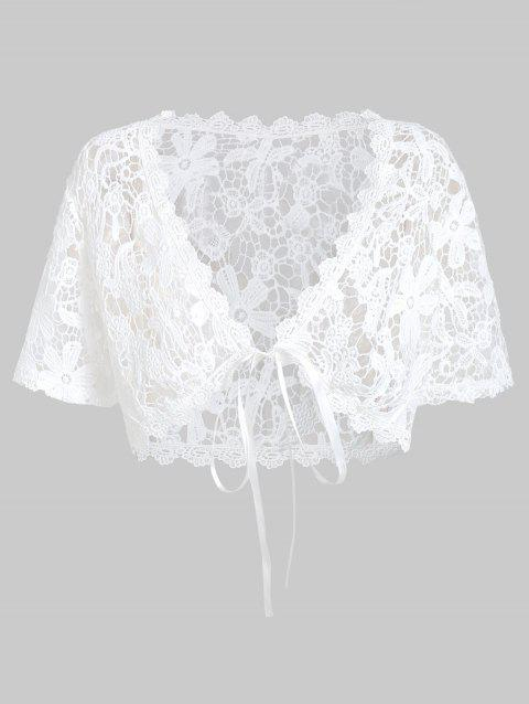 Plus Size Lace Top With Layered Handkerchief Cami Top - WHITE 3X
