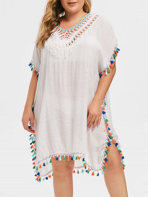 Plus Size Crochet Trim Pompom Cover Up Dress - WHITE 3X