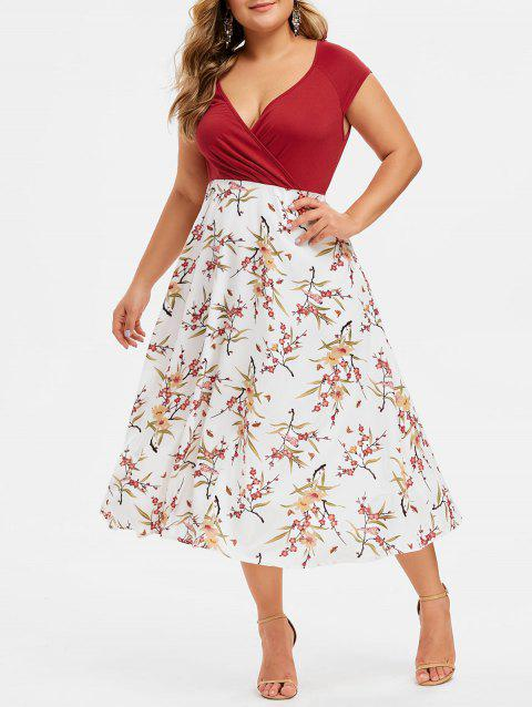 1e8baad773 41% OFF] 2019 Plus Size Plunging Neck Floral Print Midi Dress In ...