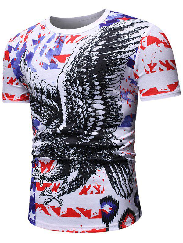 Eagle Pattern Casual Short Sleeves T-shirt - WHITE L