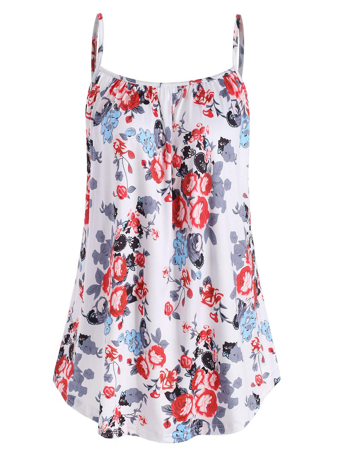 Flower Casual Cami Tank Top, White