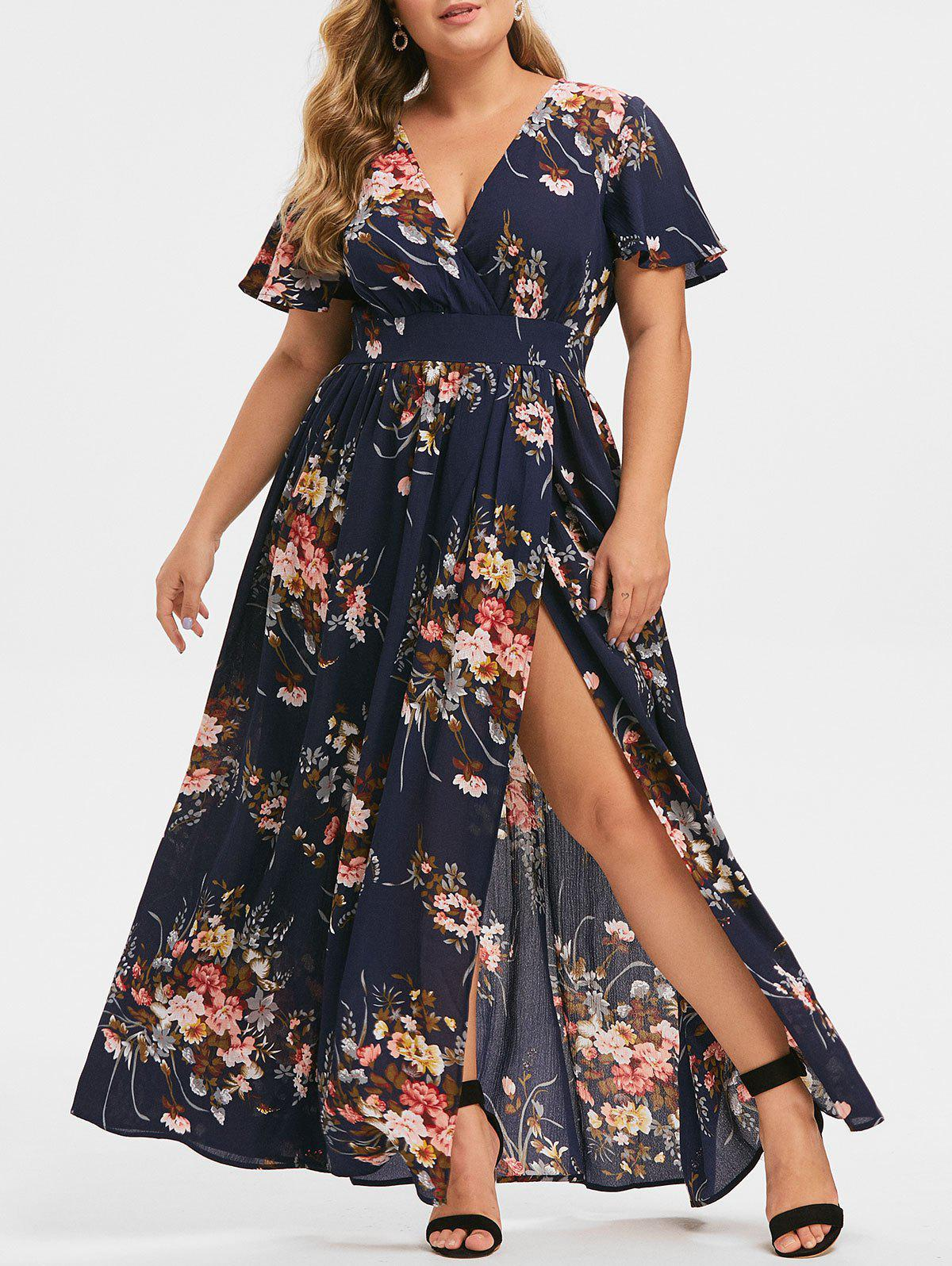 Plus Size Plunging Neck Floral Split Maxi Dress - CADETBLUE 3X