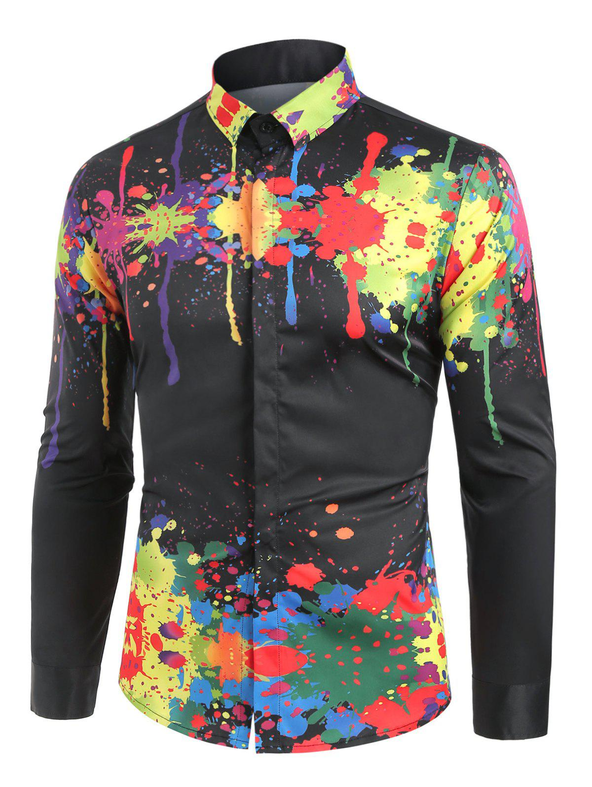 Turndown Collar Colorful Splatter Paint Pattern Long Sleeve Shirt - BLACK M