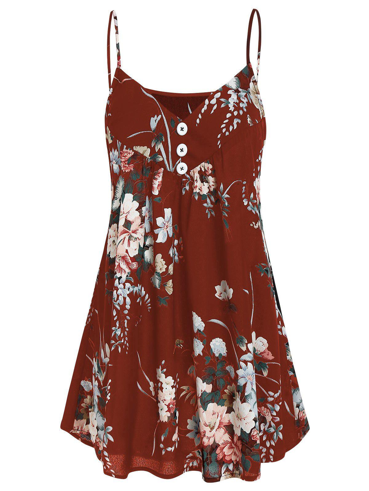 A Line Flower Tunic Cami Top - RED WINE 2XL