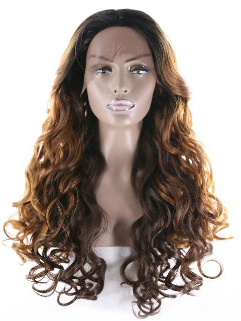 Center Part Long Natural Curly Synthetic Wig - multicolor B 24INCH