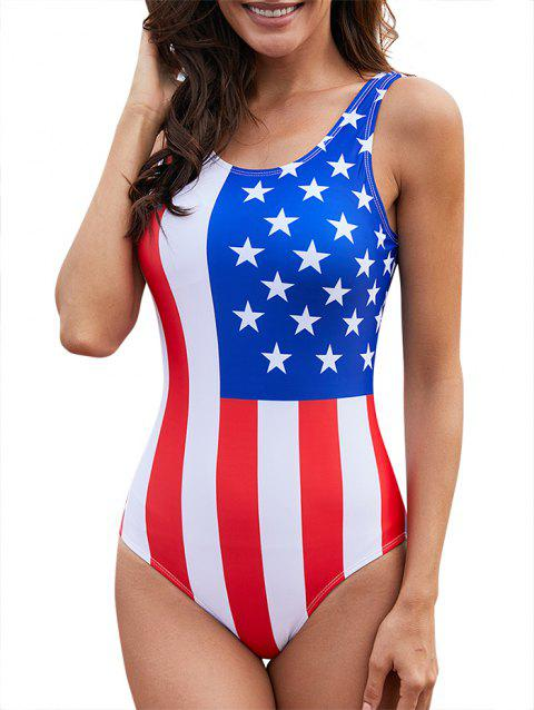 American Flag One-Piece Backless Swimsuit - multicolor XL