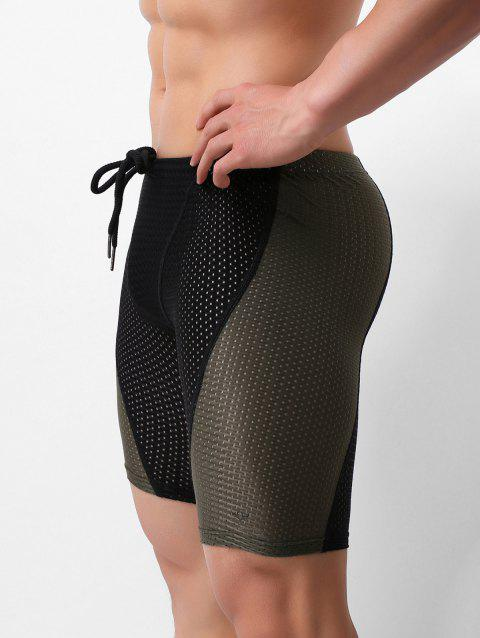 Color Spliced Breathable Swimming Trunks - BLACK M