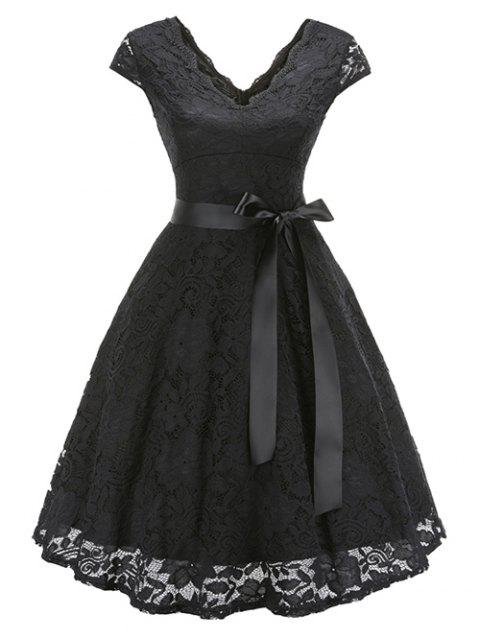 Lace Belted Fit and Flare Dress - BLACK L