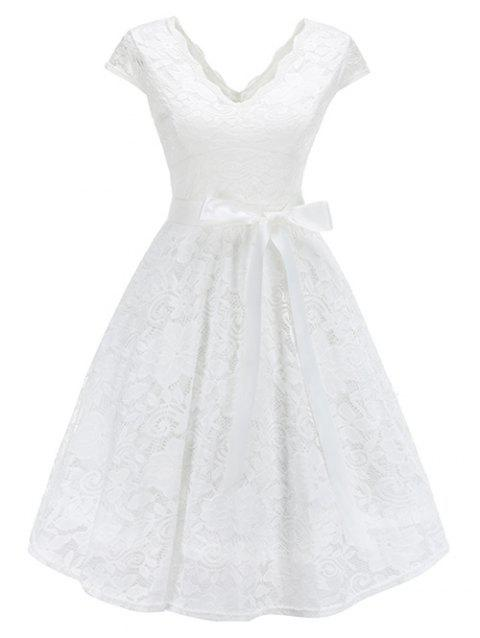 Lace Belted Fit and Flare Dress - WHITE 2XL